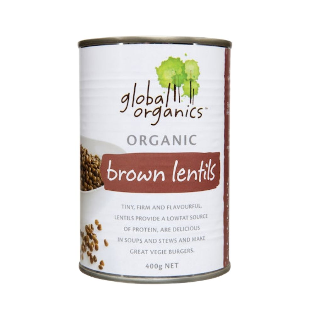 Global Organics Lentils Brown Organic (canned) 400G - Dry goods | Oasis
