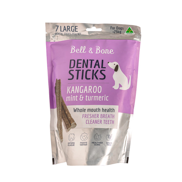 Kangaroo, Mint and Turmeric Dental Sticks - Bell & Bone - Pet Foods | Oasis