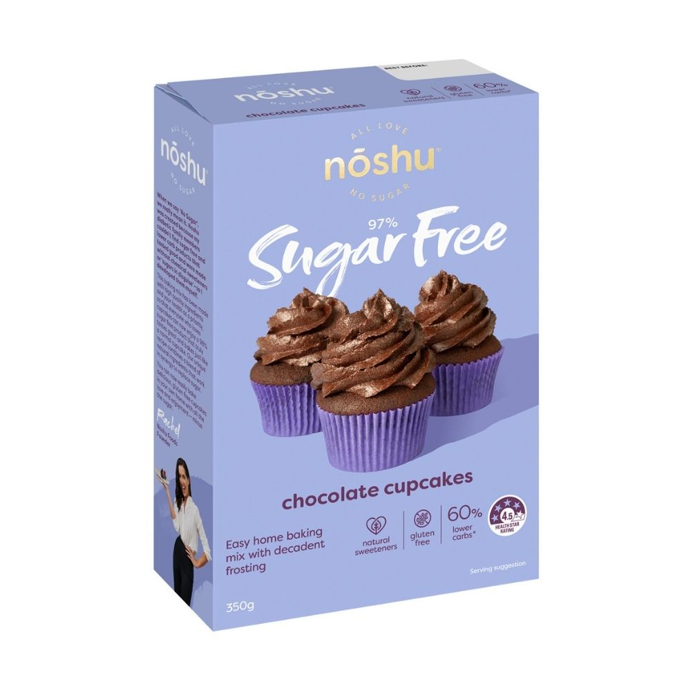 Noshu Chocolate Cupcakes Mix 350G - 97% sugar free - Groceries | Oasis