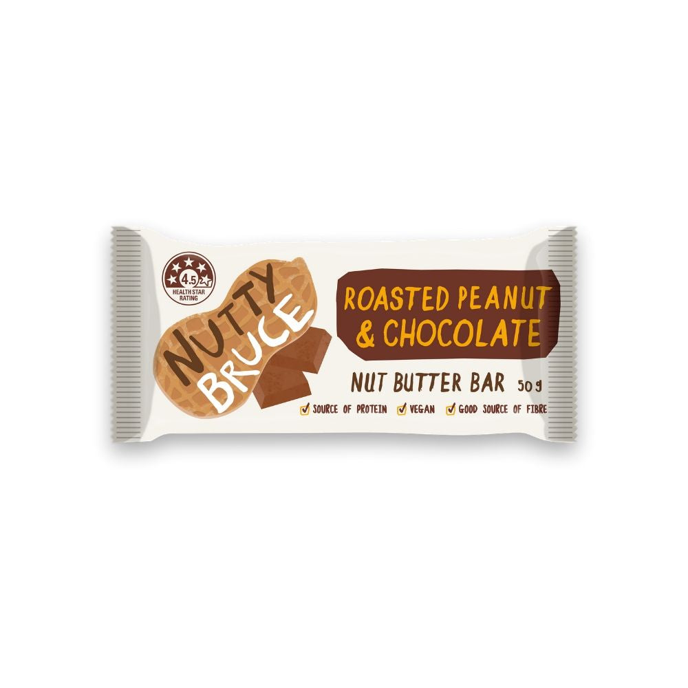 Nutty Bruce Nut Butter Bar Roasted Peanut & Chocolate 50G - snacks | Oasis