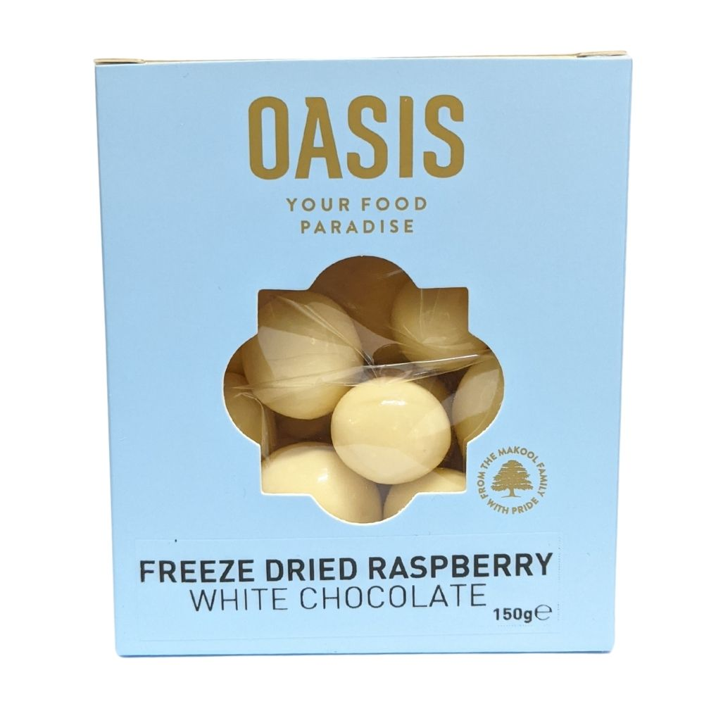 Oasis Freeze Dried Raspberries White Chocolate 150G - Nuts and Dried Fruit | Oasis