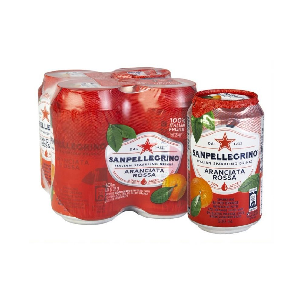 San Pellegrino Aranciata Rossa Can 4 x 330ML - Beverages | Oasis