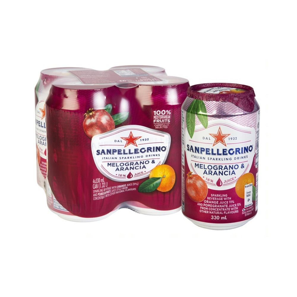San Pellegrino Melograno e Arancia Can 4 x 330ML - Beverages | Oasis