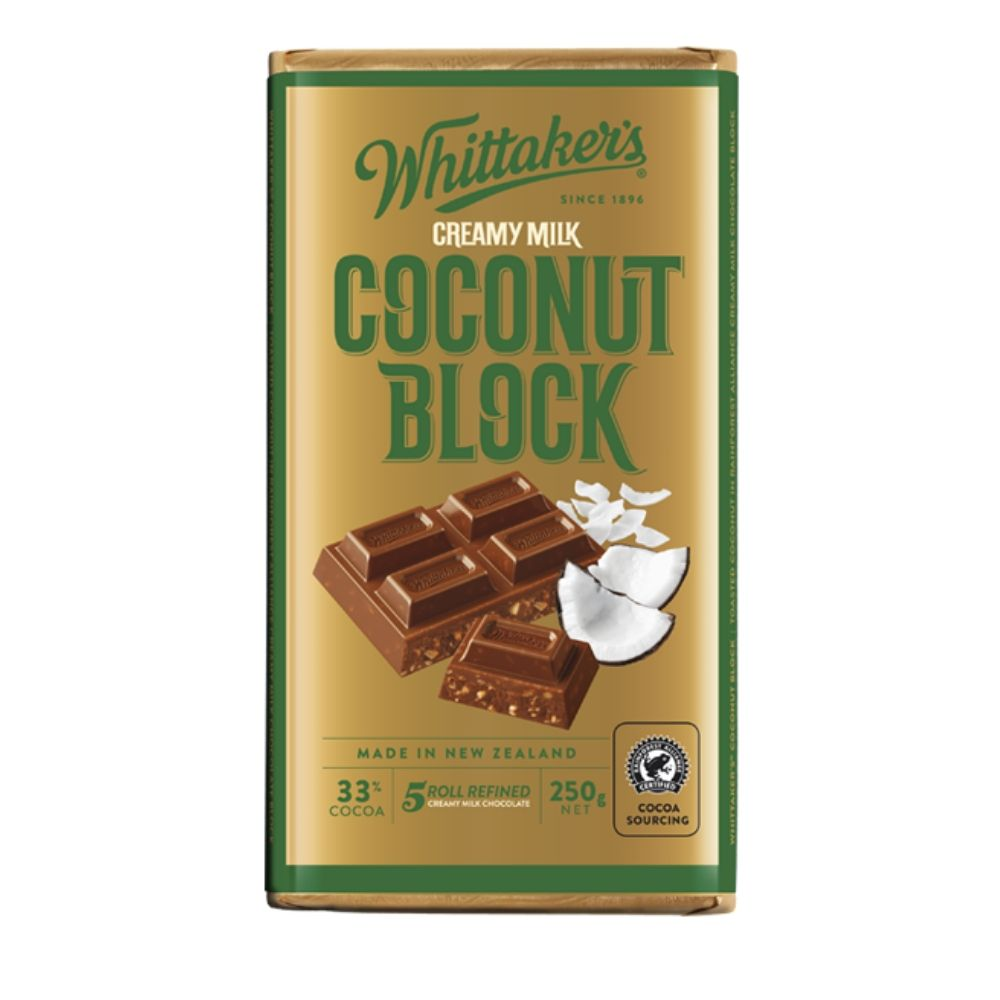 Whittaker's 33% Cocoa Coconut Milk Chocolate 250G - snacks | Oasis
