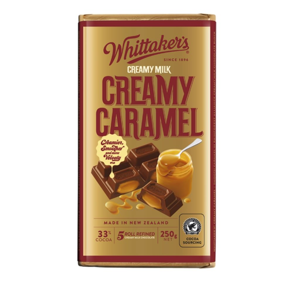 Whittaker's 33% Cocoa Creamy Caramel Chocolate 250G - snacks | Oasis