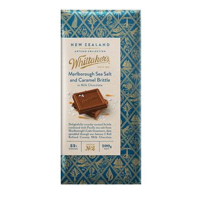 Whittaker's 33% Cocoa Marlborough Sea Salt & Caramel Brittle Artisan Chocolate 100G - snacks | Oasis