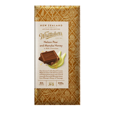 Whittaker's 33% Cocoa Nelson Pear & Manuka Honey Artisan Chocolate 100G - snacks | Oasis