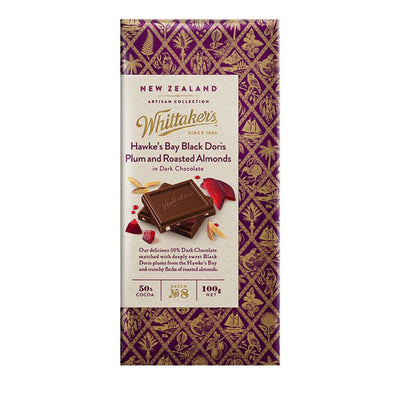 Whittaker's 50% Cocoa Hawke's Bay Plum & Almond Artisan Chocolate 100G - snacks | Oasis