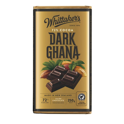 Whittaker's 72% Dark Ghana Chocolate 250G - snacks | Oasis