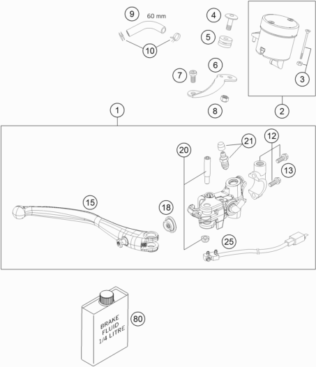 Brake Fluid Reservoir Cpl. compatible KTM 990 Super Duke R 2011 - Ref : 61013009102