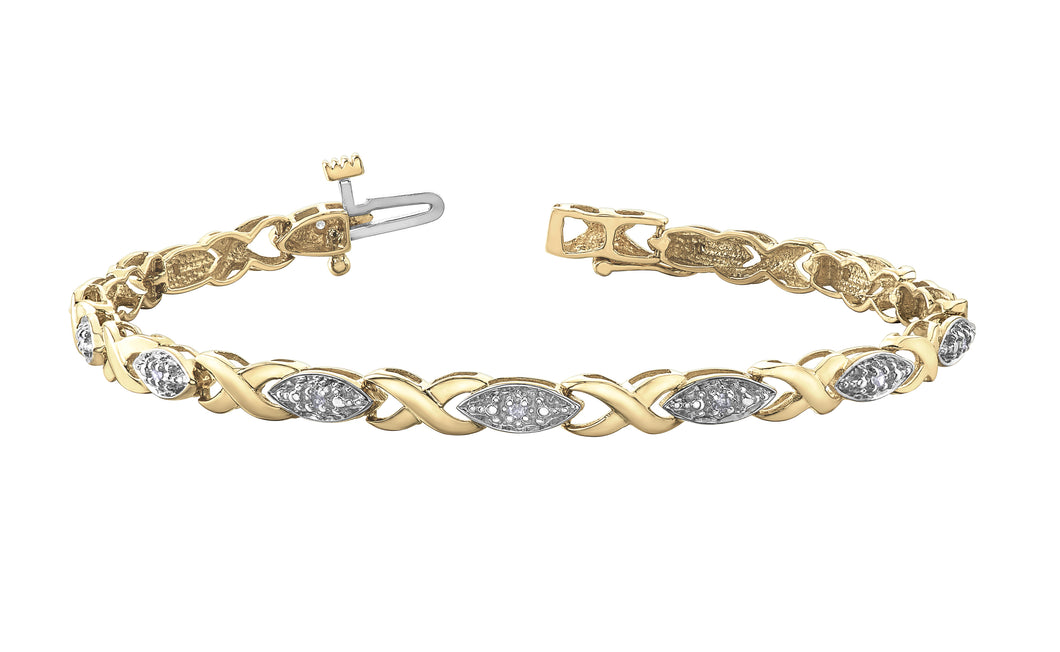Diamond and White Gold Link Bracelet