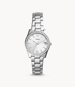 Scarlette Three-Hand Date Silver Stainless Steel Watch