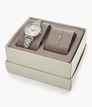 Load image into Gallery viewer, Daisy Three-Hand Two-Toned Stainless Steel Watch and Bracelet Set