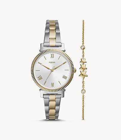 Daisy Three-Hand Two-Toned Stainless Steel Watch and Bracelet Set