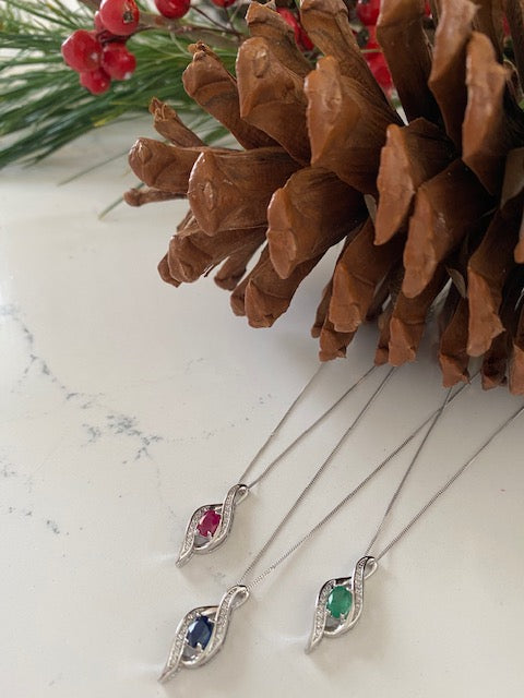 Coloured Stone and Diamond Pendants