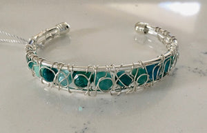 Small Woven Wire Cuff Bracelet - Lime Green and Turquoise