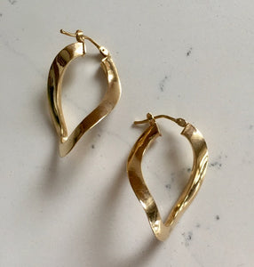 Gold Hoop Earrings - Yellow Gold Twist