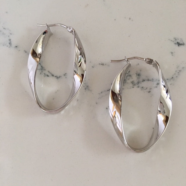 Gold Hoop Earrings - Twisted and textured white gold earrings