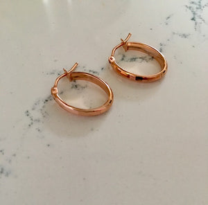 Gold Hoop Earrings - Faceted Rose Gold