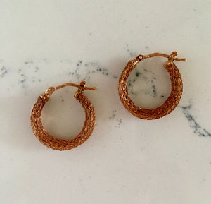 Gold Hoop Earrings - Rose gold rope textured