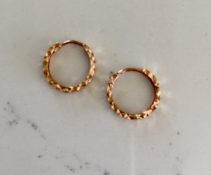 Gold Huggie Earrings -  Rose Gold Faceted