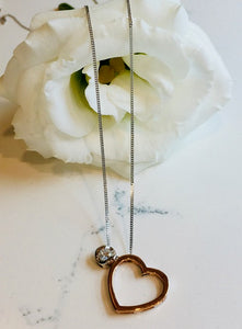 Rose Gold heart and Diamond Necklace