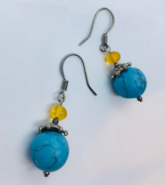 Turquoise and Amber Earrings