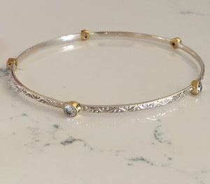 Silver Bangles with Crystals