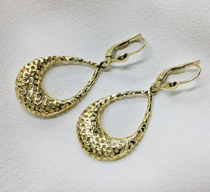 Large Yellow Gold Tear Drop Earring