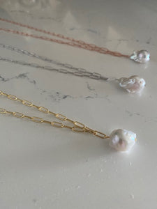 Paperclip and Pearl Necklace