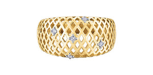 Yellow Gold and Diamond Mesh Ring
