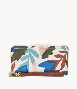 Logan RDIF Zip Around Clutch - Leaves
