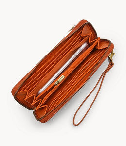 Logan RDIF Zip Around Clutch - Orange