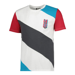 Isometric logo Colour blocked tee  White/ cyan/ red and grey