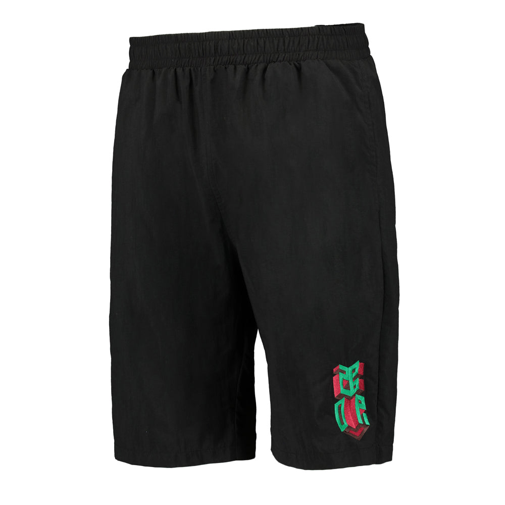 Embroidered Black isometric logo shorts