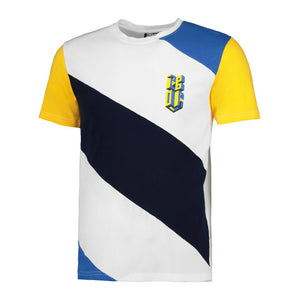 Isometric logo Colour blocked tee  White/ blue/ yellow