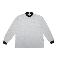 Pre order Criss Cross Polo-Turtle Shirt Grey Melange / Black