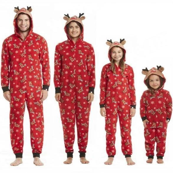 NEW Deer Christmas Hooded Collar Family Matching Pajamas