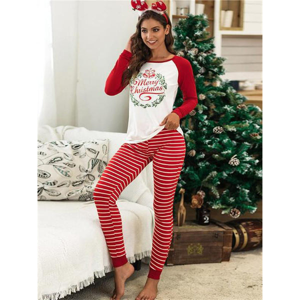 NEW Christmas Cute Floral Round Neck Long Sleeve Matching Pajamas