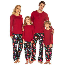 Casual Floral Round Neck Long Sleeve Family Matching Pajamas