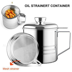 Home Grease Container With Strainer