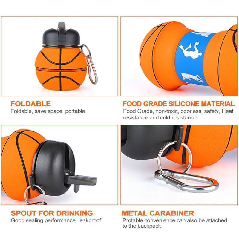 Compressible Silicone Sports Drinking Bottle With Straw