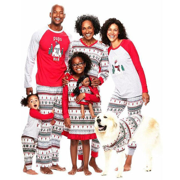 NEW Christmas Bear Cute Animal Print Round Neck Long Sleeve Family Matching Pajamas