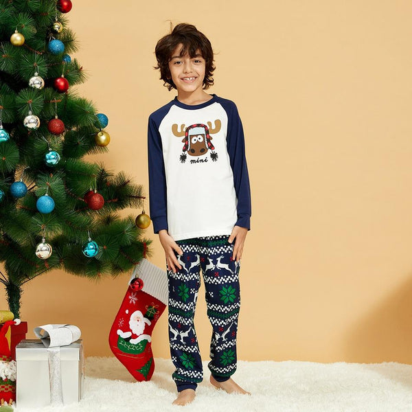 NEW Christmas Cute Animal Print Round Neck Long Sleeve Family Matching Pajamas