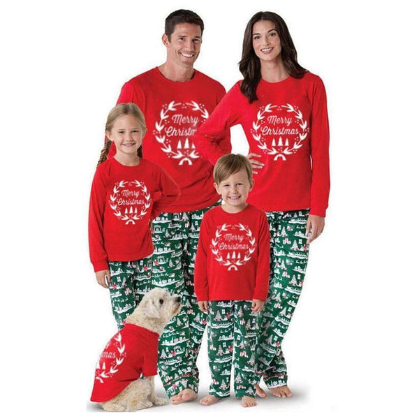 NEW Christmas Cute Floral Round Neck Long Sleeve Family Matching Pajamas