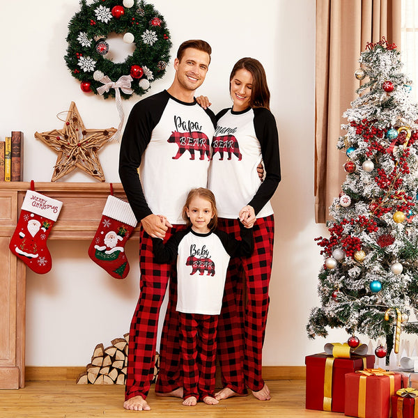 NEW Christmas Plaid Cute Animal Print Round Neck Long Sleeve Family Matching Pajamas