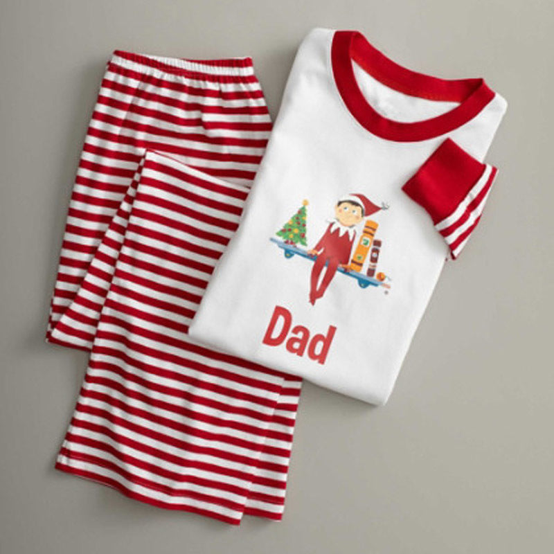NEW Christmas Cute Striped Round Neck Long Sleeve Family Matching Pajamas
