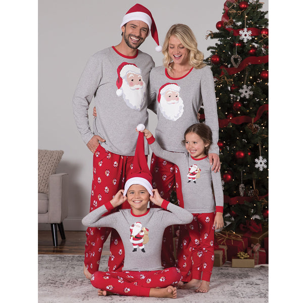 NEW Christmas Santa Claus Cute Floral Round Neck Long Sleeve Family Matching Pajamas