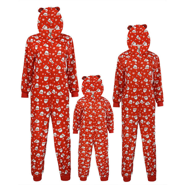 NEW Christmas Santa Claus Cute Floral Hooded Collar Long Sleeve Family Matching One-Piece Pajamas