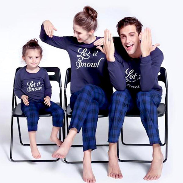 NEW Christmas Casual Plaid Round Neck Long Sleeve Family Matching Pajamas